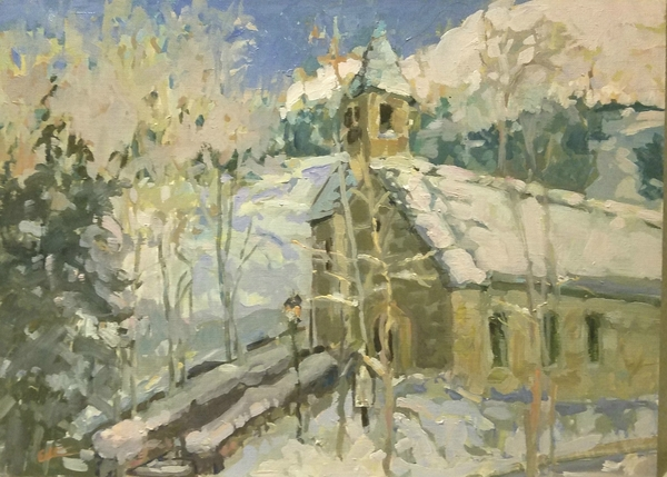 Snow on Steeple - Jeanne Echternach